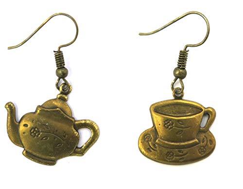 Teekessel und Tasse Ohrringe bronzefarben Modeschmuck