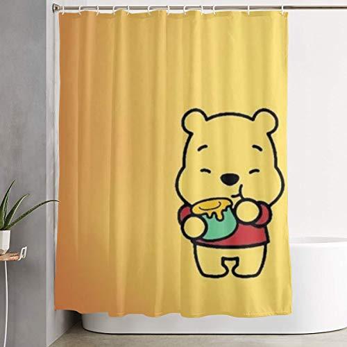 DNBCJJ Duschvorhang Winnie The Pooh Eating Honey Kunstdruck, Polyester-Stoff, Badezimmer-Dekorationssammlung mit Haken, 152,4 x 182,9 cm