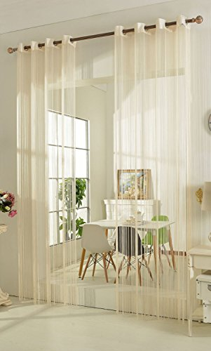 Gardinenbox Fadengardine Fadenstore Vorhang mit Ösen Raumteiler 140 x 250 cm, Creme, 20304