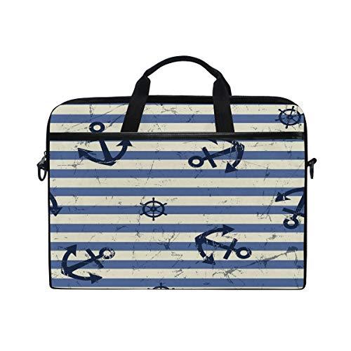 HaJie Laptop Bag Retro Stripes Navy Blue Anchor Rudder Computer Case 14-14.5 in Protective Bag Travel Briefcase with Shoulder Strap for Men Women Boy Girls