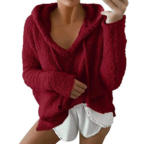 Damenmode Einfarbig Pullover Winter Warm Plüsch Sweatshirt Langarm Hoodie Pullover Tops