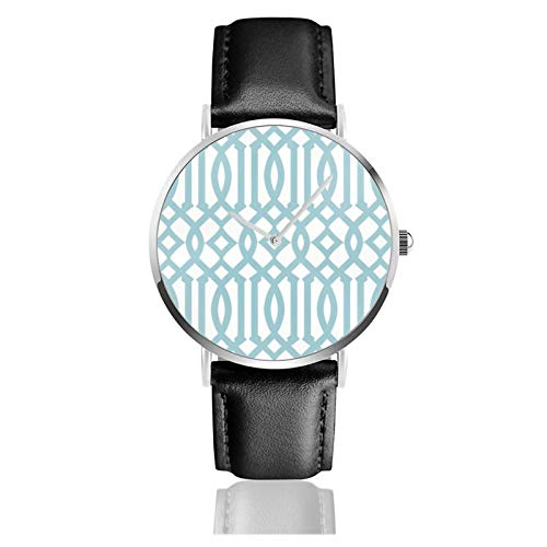 Reloj de pulsera de cuarzo, moderno blanco y azul cielo, imperial enrejado,...