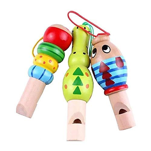 Dirgee 1 stücke Holz Spielzeug Cartoon Tier Pfeife Schlüsselanhänger Frühe Bildung Musik Instrument Spielzeug for Kinder Zufällige Farbe (Farbe: 1) (Color : 1)