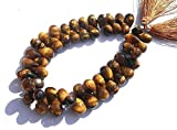 World Wide Gems Beads Gemstone Tiger Eye Faceted Tear Drop Briolettes Size 10x7 to 12x8mm 4 Inches Strand. Long Strand Code-HIGH-41105