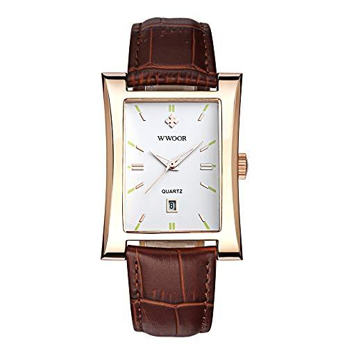 WWOOR Auffällige rechteckige Zifferblatt Quarzuhr Business wasserdichte Lederband Kalender Armbanduhr