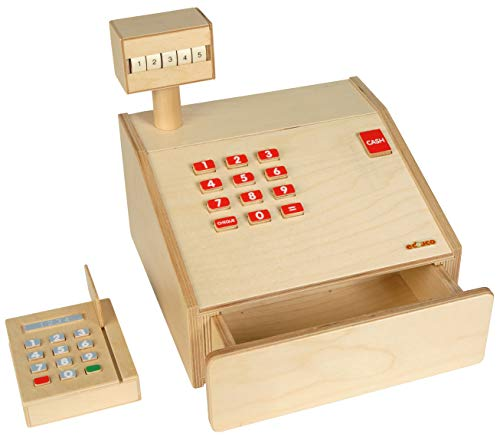 Educo Caja registradora de madera   Materiales educativos Música & Drama   Matemáticas – Medición del dama del dinero   A partir de 36 meses   hasta 72 meses