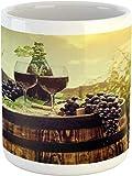 Tazza da vino paesaggio toscano con botte di bicchieri e uva matura crescita, tazza in ceramica per acqua, tè, bevande, 311,8 ml, colore: nero marrone