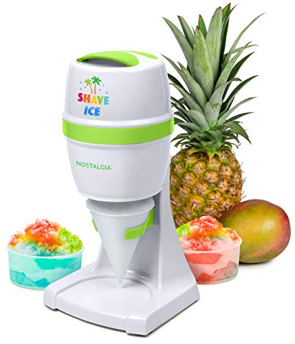 Nostalgia ESHVICE2HSI Electric Hawaiian Shave Ice & Snow Cone Maker, Includes Reusable Cup and Two Molds, Stainless Steel Blades, White/Green