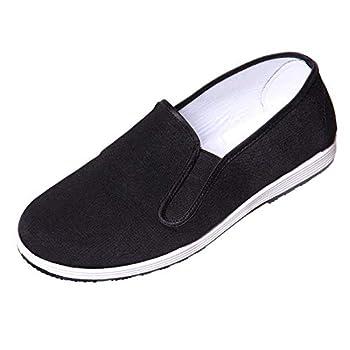 Kung Fu Shoes Martial Arts Shoes Men/Women Chinese Traditional Old Beijing Shoes Kung Fu Tai Chi Rubber Sole Shoes Black 45EU