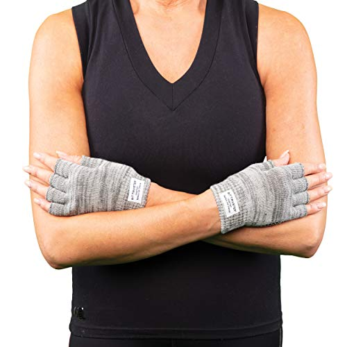 SIT TWISTER Exercise Gloves - Extra Grip and Comfort - Performance Fingerless Gloves for Yoga, Pilates, and Working Out (Cotton & Spandex, Grey)