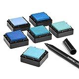 KATINGA Stempelkissen (6er Set) mit Stift für Fingerabdrücke, zum Basteln und zum kreativen Gestalten (6er BLAU)