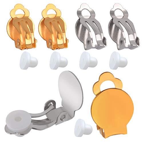 Aylifu Ohrring Konverter, 20 Stück (10 Paar) Ohrstecker Umwandler zum Ohr-Clip Ohrclips Rohlinge Basteln mit Klebefläche und 20 Stück Ohrring Stopper - Schmuck selbst gestalten