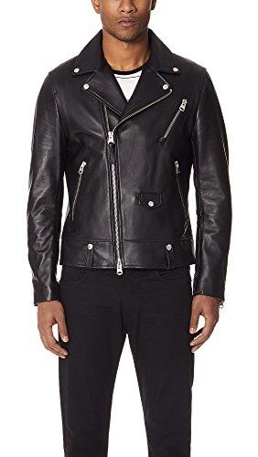 Mackage Men's Fenton Sleek Leather Biker Jacket, Black, 46