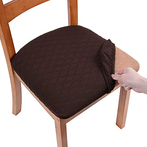 Smiry Stretch Jacquard Dining Chair Seat Covers, Removable Washable Anti-Dust Upholstered Chair Seat Cover for Dining Room, Kitchen, Office (Set of 6, Coffee)