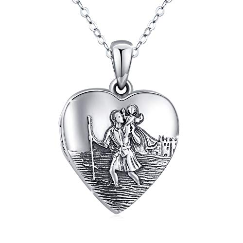 S925 Sterling Silver Locket Necklace That Holds Pictures Saint Christopher Pendant Love Heart Photo Lockets