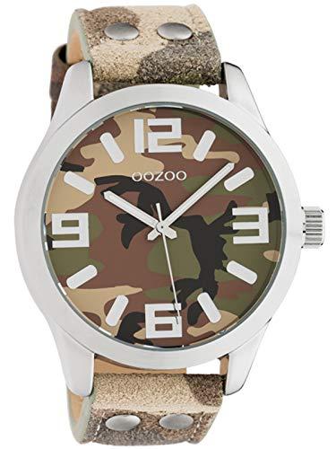 Oozoo Herrenuhr mit Lederband Quarz im Camouflage Look 45 MM Silber/Camouflage C1066