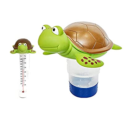 """Chlorine Floater, Turtle Collapsible Floating Pool Chemical Dispenser & Turtle Pool Thermometer?Fits 3"""" Chlorine Tablets?Release Adjustable for Indoor & Outdoor Swimming Pool Hot Tub SPA(2 Pack)"""