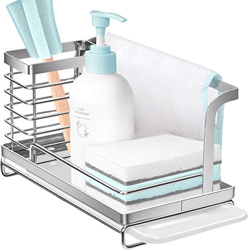 Nieifi Sink Caddy Organizer Countertop Sponge Brush Soap Holder with Drain Pan Stainless Steel for Kitchen