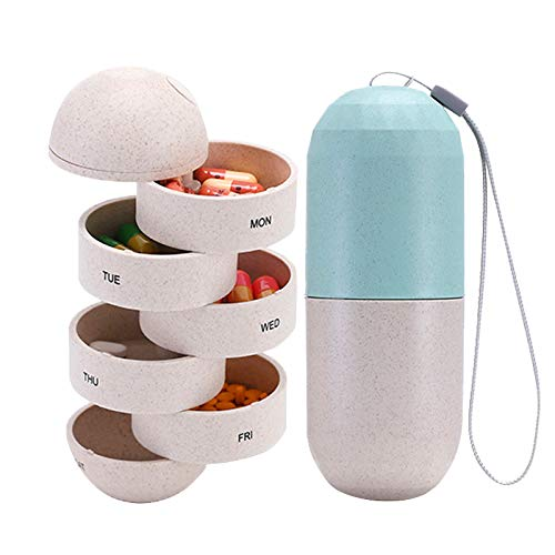 Caja de almacenamiento de píldoras sellada 7 días píldoras portátil impermeable cereal trigo píldora caja portátil 1 semana viaje cápsula