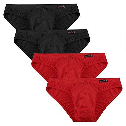 Avidlove 4er Pack, Slips Modal - seidenweich Unterhose short underwear Unterhosen Trunk Shorts Unterwäsche Slip Herren Männer- Gr. EU XL, 2 x Schwarz/ 2 x Rot