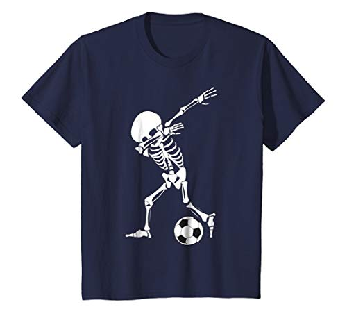 Kids Dabbing Skeleton Soccer Shirt - Funny Halloween Dab T-Shirt 10 Navy