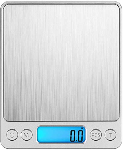 Takelablaze キッチンスケール はかり デジタル 電子はかり 計量器 電子天秤 0.1g単位 3kg キッチ クッキングスケール コンパクト 風袋引き機能 オートオフ シルバー LCDディスプレイ 測り 料理 薄型 電池式