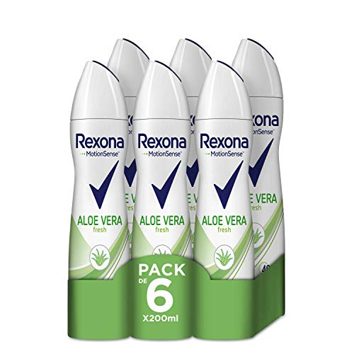 Rexona Aloe Vera Antitranspirante Aerosol para Mujer 0% Alcohol 200 ml - Pack de 6 x 200 ml, Total 1200 ml