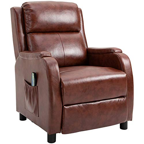 HOMCOM Massage Recliner Chair Padded Seat Cushion 165° Reclining Sofa with Side Pocket for Living Room, PU Leather, Remote Control, Light Brown
