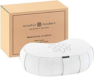 Mindful and Modern Large Crescent Meditation Cushion - Half Moon Yoga Bolster Meditation Pillow for Sitting on Floor - Buc...