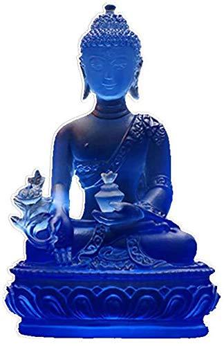 Medicine Buddha Statues,Crystal Glass Buddha of Healing Figurines,Meditating Sitting Thai Buddha Desktop Ornaments Feng Shui Gifts Meditation Peace