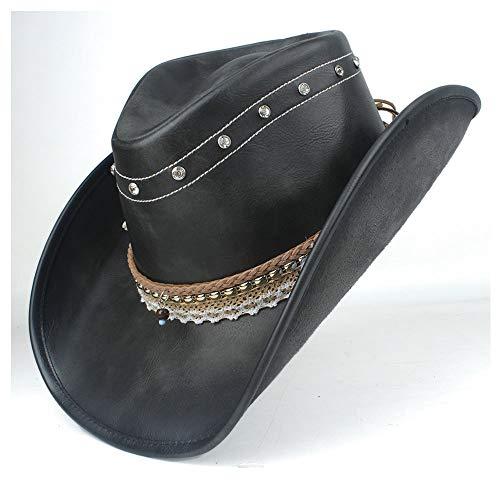 Khxypm 86 100% Piel Mujeres Hombres Negro Westerly sombrero de vaquero con rueda for arriba del borde de la correa matón del jazz del sombrero del casquillo sombrero del papá 58-59CM Tamaño us