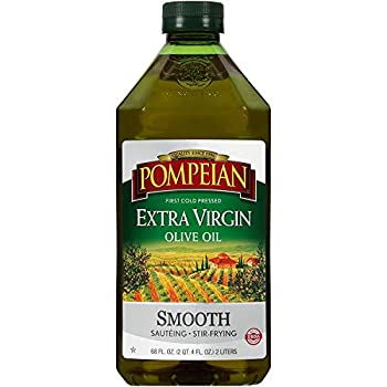 Pompeian Smooth Extra Virgin Olive Oil First Cold Pressed Mild and Delicate Flavor Perfect for Sauteing & Stir-Frying 68 FL OZ.