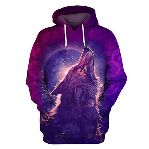 HNKPWY Wolf 3D Sweatshirts Schedel Hoody Mannen Hoodie Grappige Hoodies Wolf Tracksuit Herfst Winter Losse Hooded Jas Muziek