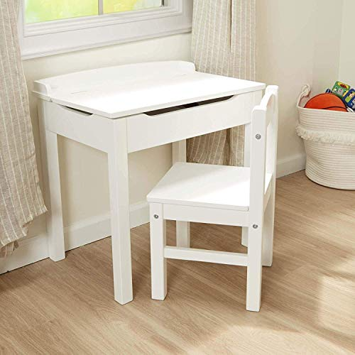 Kids Table and 1 Chair Set Children Activity Art Desk with Storage for Read, Ship from US Warehouse Home Garden Furniture