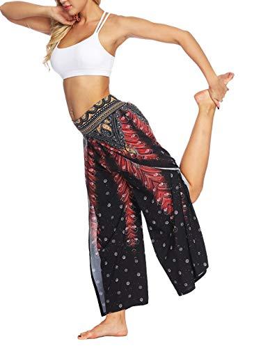 Pantaloni Yoga da Donna Larghi con Spacco Baggy Hip Hop Harem Danza Palazzo Trousers Tuta Jumpsuit Boho Etnico Chic Gamba Pantalone Lungo Estivo per Jogging Palestra Sportivi Pigiama Wide Leg Pants