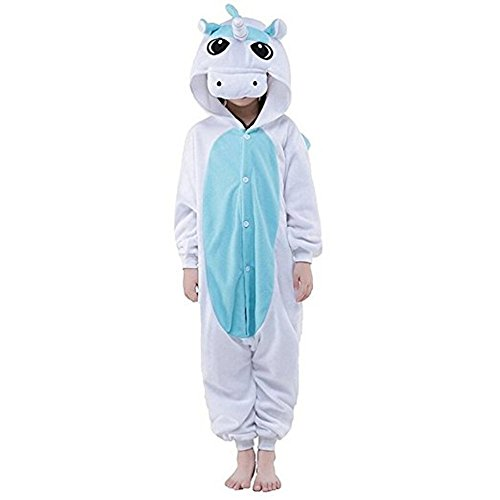Rainbow Unicorn Kinder Einhorn Pyjama Tier Flanell Cosplay Kostüme Party Overalls Halloween Karneval Neuheit Schlafanzüge (Blau Einhorn, 95CM)