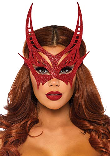 Leg Avenue Women's Glitter Devil Mask, red, O/S