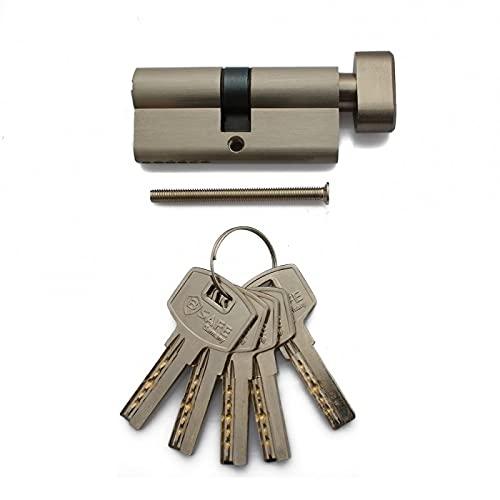 B SAFE Sicherheits Knaufzylinder, Wendeschlüssel, Schließzylinder, (Sicherheits Knaufzylinder 60mm (30/30) mit 5 Schlüsseln)