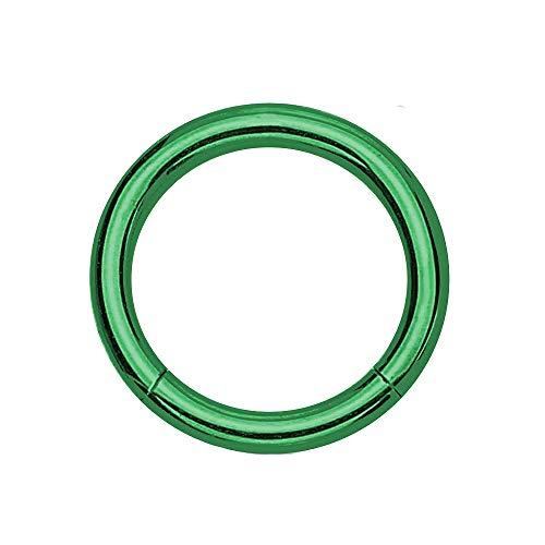 eeddoo Piercing-Ring Segment-Clicker Segment-Ring Grün Edelstahl 1,2 mm x 8 mm
