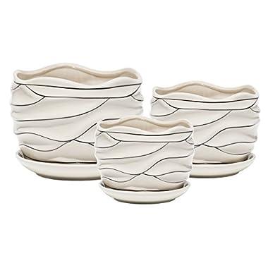 White Ceramic Garden Flower Plant Pot Succulent Cactus Plant Pots 4 6 7 Inch Set of 3 (White Stripe Wave)