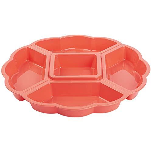 Servierplatte Snackschale Kunststoff, Vorspeisenteiler, 5 Fächer, Lachs, 33 cm