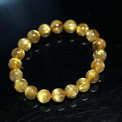 LKBEADS 1 Strands Natural Titanium Gold Hair Rutile Quartz Cat's Eye Stretch Bracelet Round Beads 10mm 04278 Code-HIGH-30048