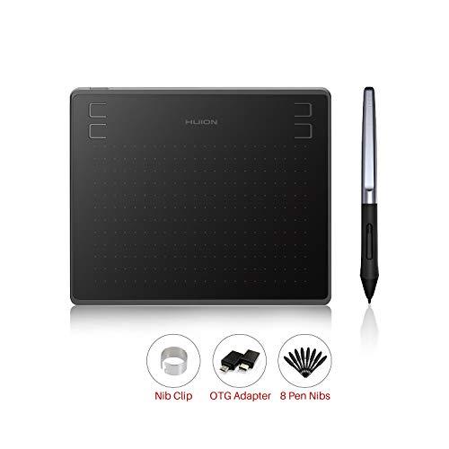 HUION-Grafik-Zeichentablett HS64 8192 ist EIN druckfähiges, batteriefreies Stifttablett 6 \'\' mit Vier Drucktasten, das neben Windows und macOS OS Android 6.0 unterstützt