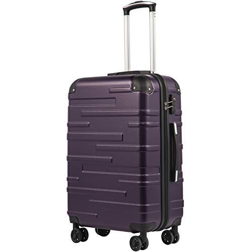 COOLIFE Hartschalen-Koffer Rollkoffer Reisekoffer Vergrößerbares Gepäck (Nur Großer Koffer Erweiterbar) ABS Material mit TSA-Schloss und 4 Rollen(Violett, Handgepäck)
