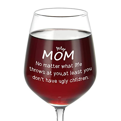 Mom No Matter What/Ugly Children Wine Glass, Best Mom Gifts Idea for Mom Women Her Mother's Day Birthday Christmas from Daughter Son Kids, Funny Mother's Day Wine Glass for Red White Wine, 15Oz