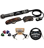 L.R. Baggs Lyric Acoustic Guitar Microphone System Bundle with Blucoil 2-Pack of Pedal Patch Cables, 10-FT Straight Instrument Cable (1/4in), and 4-Pack of Celluloid Guitar Picks