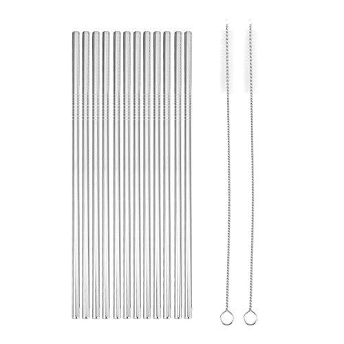Jcevium Set di 12 pezzi di cannuccia in acciaio inox, riutilizzabili, cannuccia dritta + 2 spazzole per la pulizia