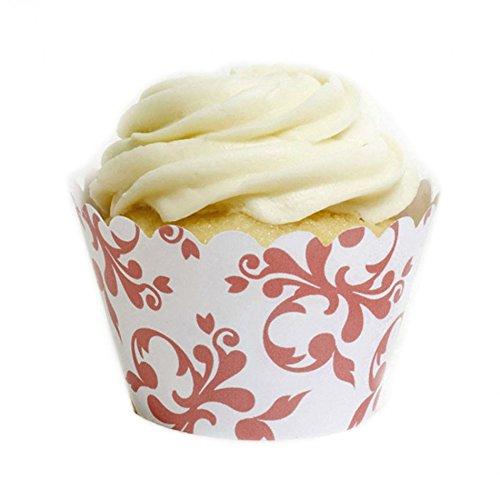 Dress My Cupcake Coral Filigree Cupcake Wrappers, Set of 12
