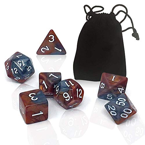 P3 Bees & Me Polyhedral Dice Set with d4 d8 d10 d12 d20 for Playing RPG Games Like Dungeons and Dragons DND - D&D 4 8 10 12 20 Sided Dice & Bag