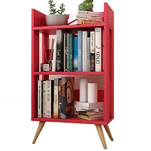 DNSJB Petite bibliothèque à Couches Multiples Simple étage, Armoire de Rangement en Bois Massif pour Enfants (Couleur : Red)